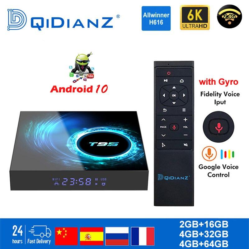 مربع التلفزيون الذكية T95 أندرويد 10 6K H616 رباعية النواة مشغل الوسائط مخزن اللعب التطبيق المجاني سريع مجموعة صندوق علوي X96Air PK HK1MAX H96