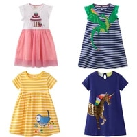 2 7 years toddler girls cotton jersey dress print cat sequines unicorn kids summer outfit sundress short sleeve clothes