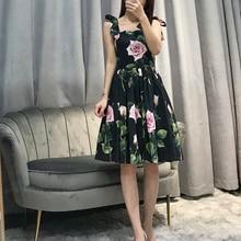 Qian Han Zi 2020 new fashion summer dress Women's Spaghetti Strap Sexy Dress Flower Print Black Mini Dress