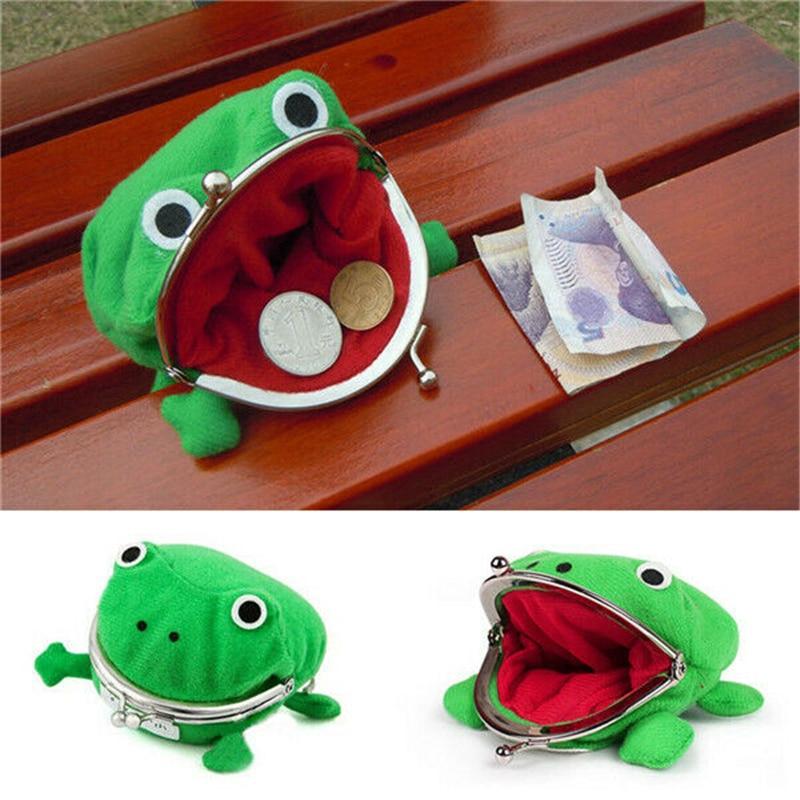 1 PC Frog Coin Purses Women's Wallet Pouch Manga Shape Fluff Clutch Cute Wallet Purse Coin Holder  Kids Girls Gift