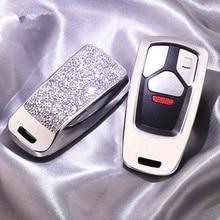 Étui à clés de voiture pour Audi A1 A3   Luxueux porte-clés de voiture, en cristal scintillant, A6 A7 A8 Quattro Q3 Q5 Q7 2020 ~ 2009