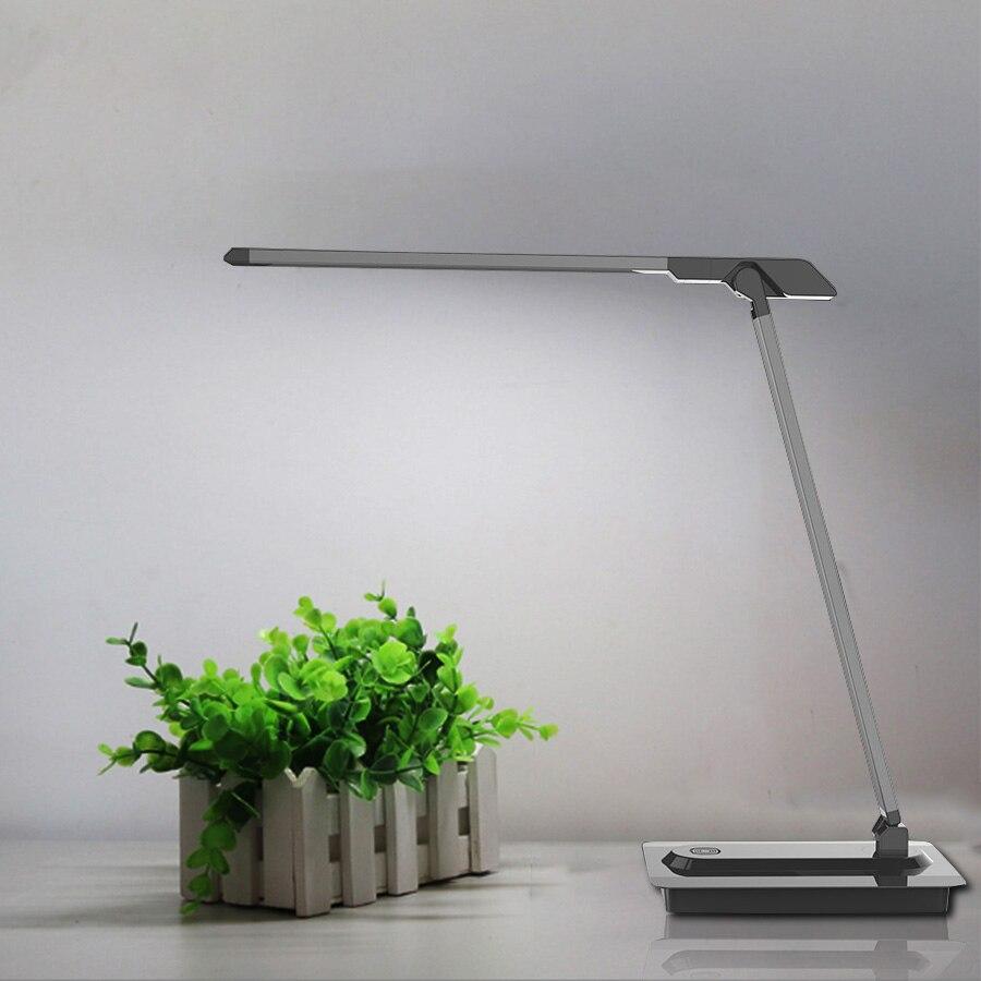 Porfessional 7 w lâmpada de mesa led, lâmpadas de mesa olho-cuidado, lâmpada de escritório regulável com conector usb, 3 modos de iluminação controle de toque