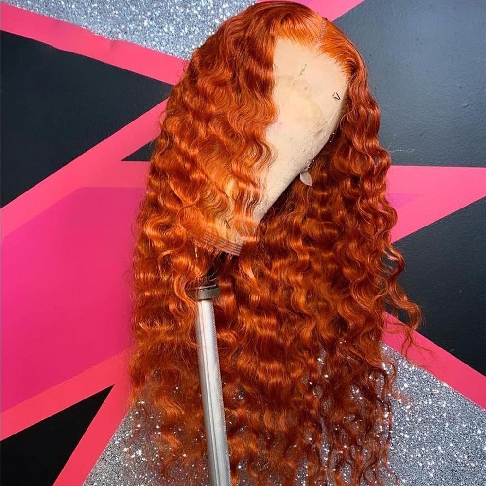 الزنجبيل البرتقال مجعد 26 بوصة طويلة موجة عميقة الاصطناعية الدانتيل شعر مستعار أمامي للنساء السود اليومية تأثيري مقاومة للحرارة 180% الكثافة