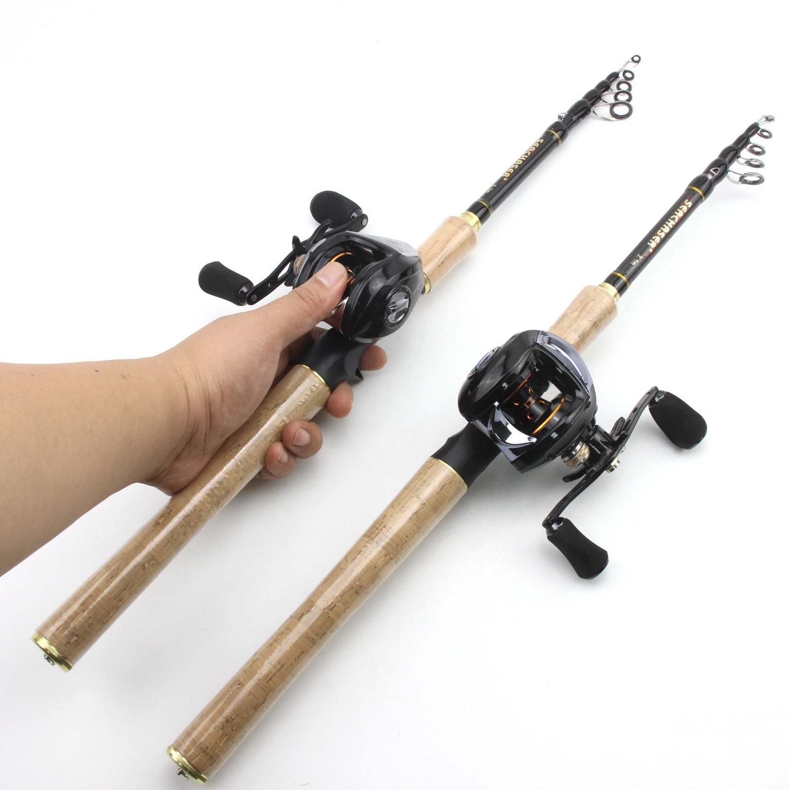 AOYA Fishing Rod and Reel Combo Telescopic Portable Carbon Fiber Casting Feeder Ultralight Pole and 18+1BB Baitcasting Reel Set enlarge