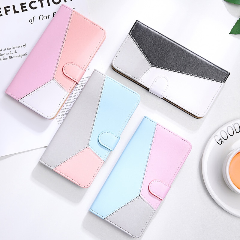 Bloque de Color de cuero, funda para Xiaomi MI A3 teléfono caso para Xiomu MI CC9E A2 A3 lite CC9 A1 6X 5X Coque Cierre magnético Flip Cover