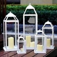 windproof candle holders white vintage hurricane lantern glass lanterns wedding decorations porta velas home decoration ac50ch