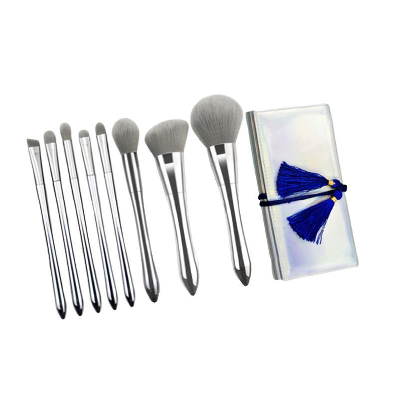 8Pcs Silver Soft Makeup Brush Set Cosmetics Brushes Powder Foundation Brush Kit Makeup Tools Accessories