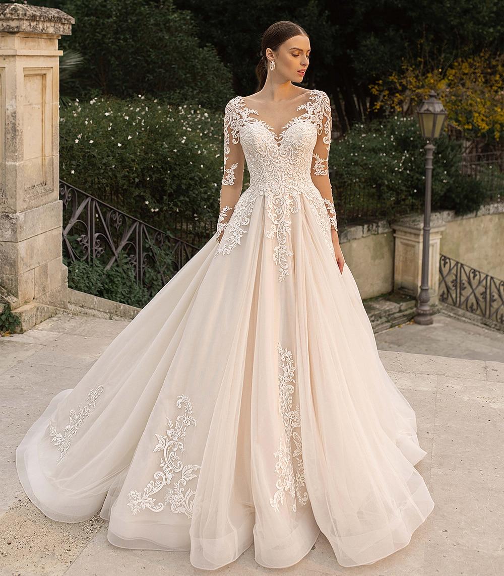 Великолепное Кружевное Свадебное платье с длинными рукавами, прозрачное свадебное платье цвета шампанского с аппликацией и воротником-сто...