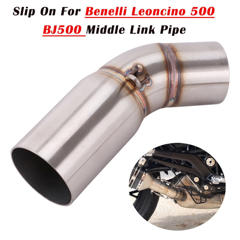 Slip On For Benelli Leoncino 500 BJ500  Motorcycle Exhaust Middle Pipe Escape Connect Link Tube Moto Exhaust System Muffler