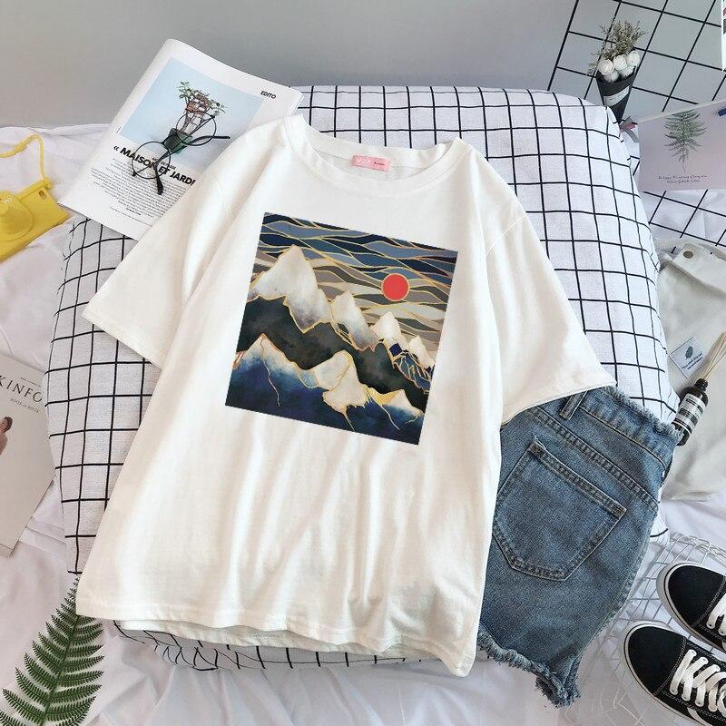 Japanese personality Harajuku tide print wild casual T-shirt female summer dress new listing loose street fashion short sleeve