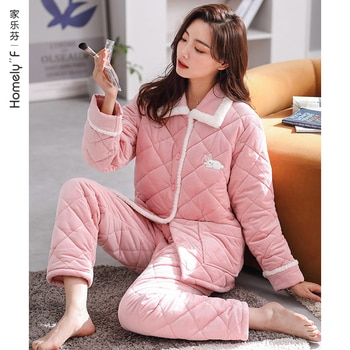 Pajamas Women's Winter Three-Layer Thickened Fleece-Lined Quilted Thermal Coral Fleece Flannel Home Wear Autumn and Winter