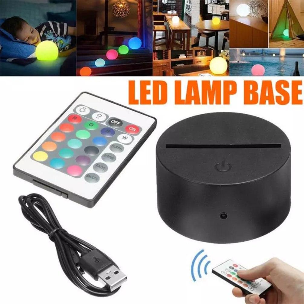 Base de lámpara LED 3D, luz nocturna con Control remoto táctil, soporte...