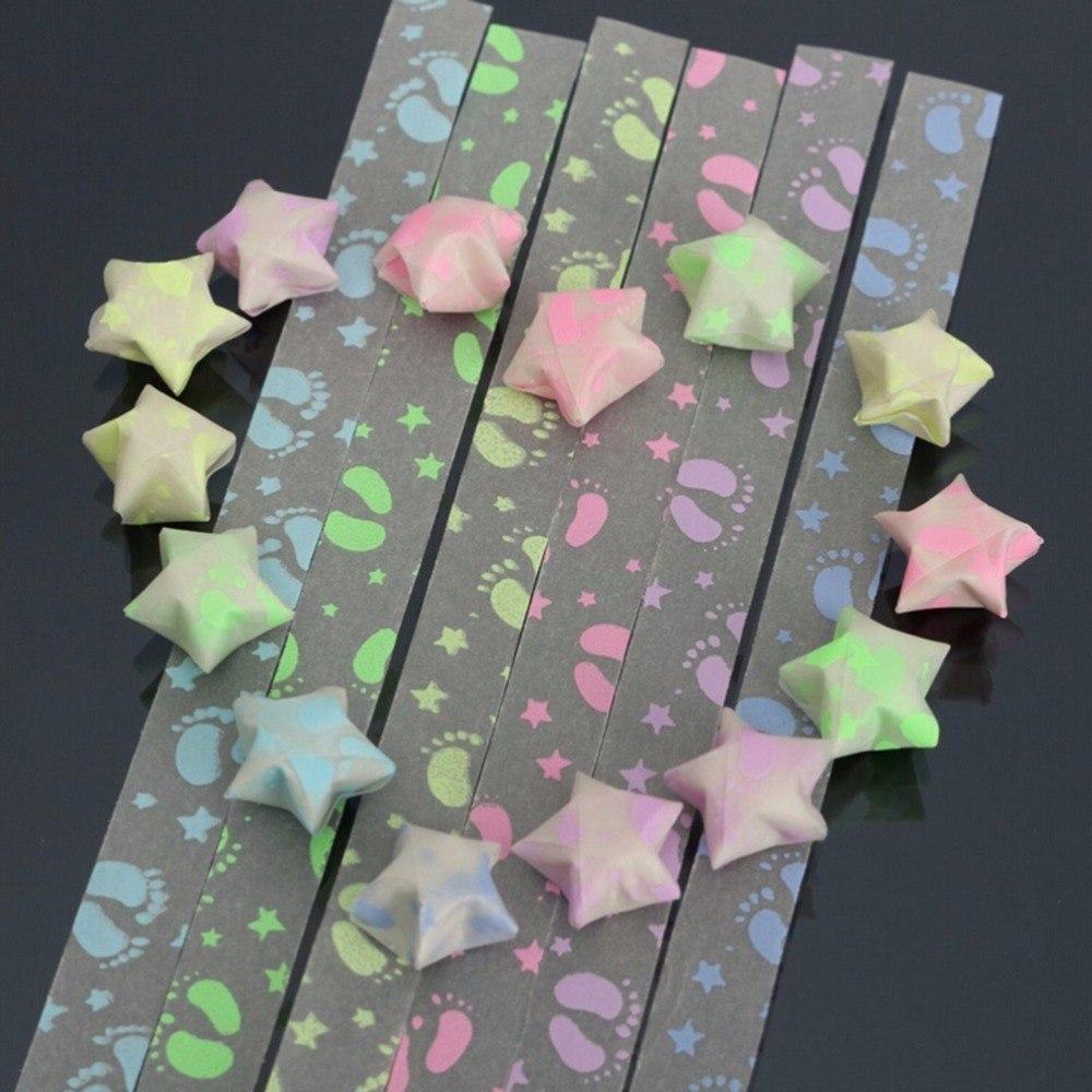 30Pcs  DIY Footprint Lucky Wishes Stars Folding Origami Luminous Ribbon Kit Paper Crafts Christmas Present Strips Gifts