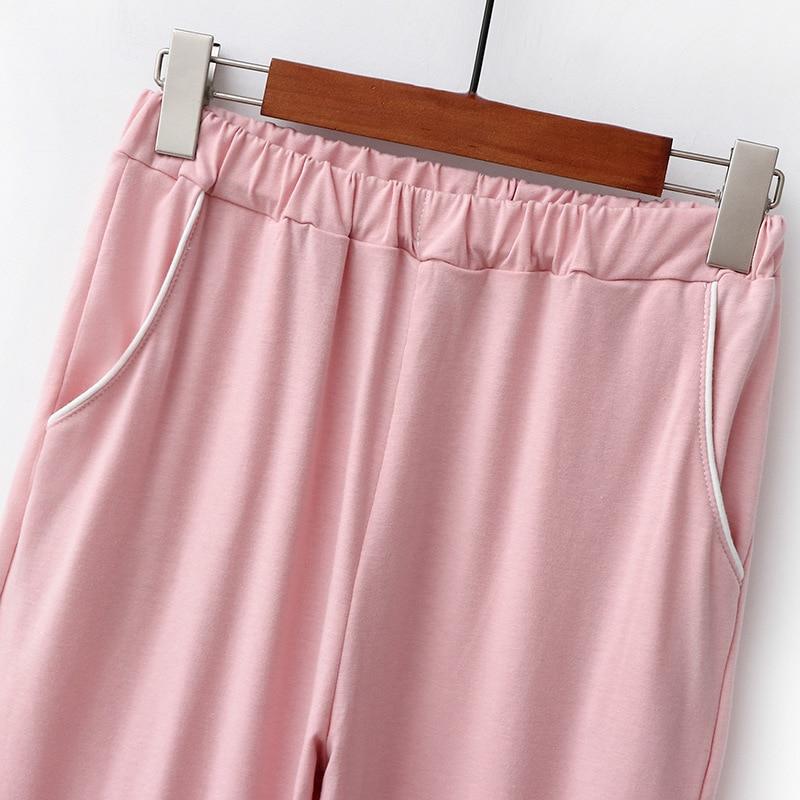 Ladies pajamas set cotton cardigan basic style simple lapel pajamas comfortable and casual  two-piece homewear JJF0039