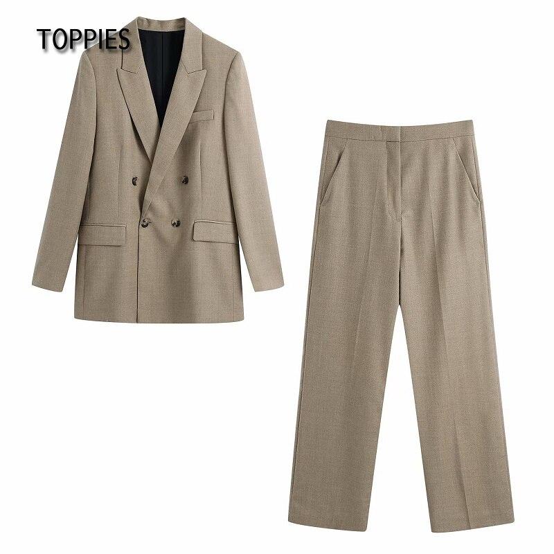 Toppies 2021 Women Pants Set Office Ladies Two Piece Suit Set Blazer and Pants Female Suit Jacket High Waist Trousers