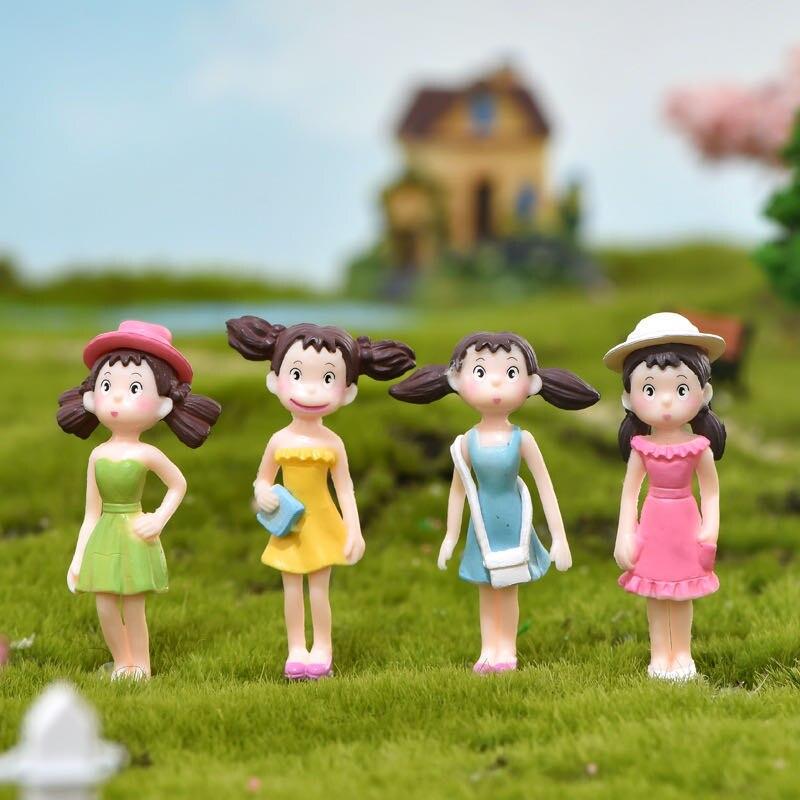 4 adet/takım genç okul kız heykelcik Gnome bahçe aksesuarları Mini Dollhouse oyuncak DIY düğün ev dekor minyatür peri bahçe
