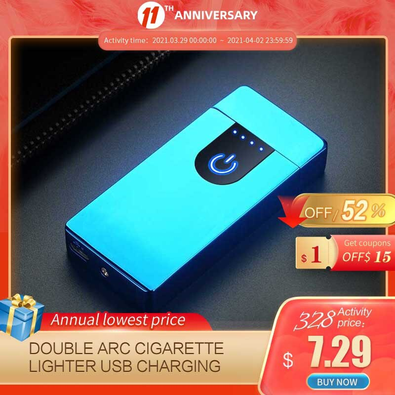 Fingerprint Induction Double Arc Cigarette Lighter USB Charging lighter Portable Windproof Flameless Smoking Accessories For Men enlarge