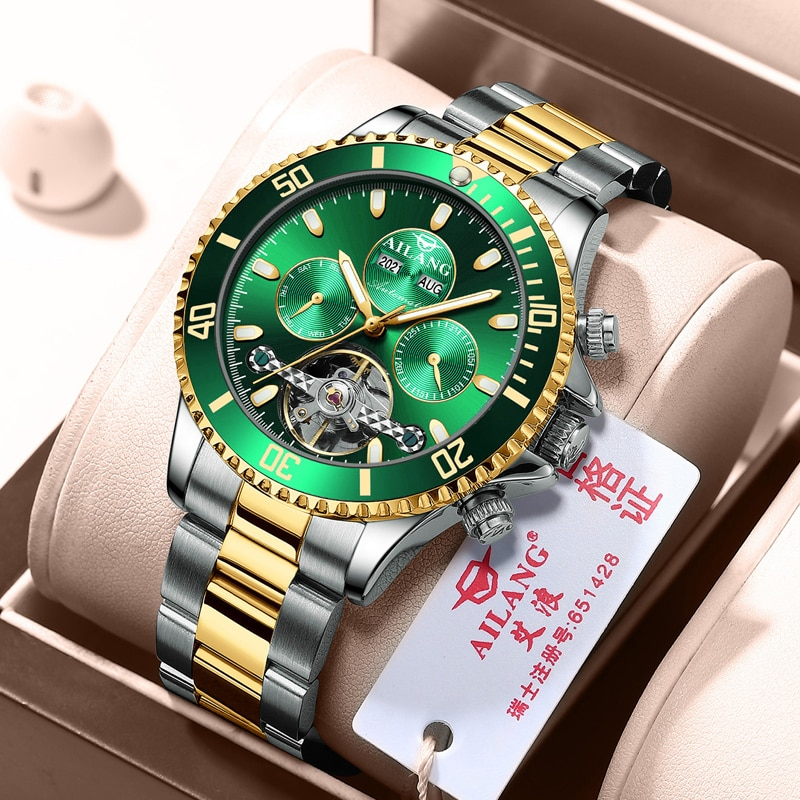 AILANG 2021 New Original Automatic Hollow-out Mechanical Watch Men Luminous Waterproof Men's Watch D