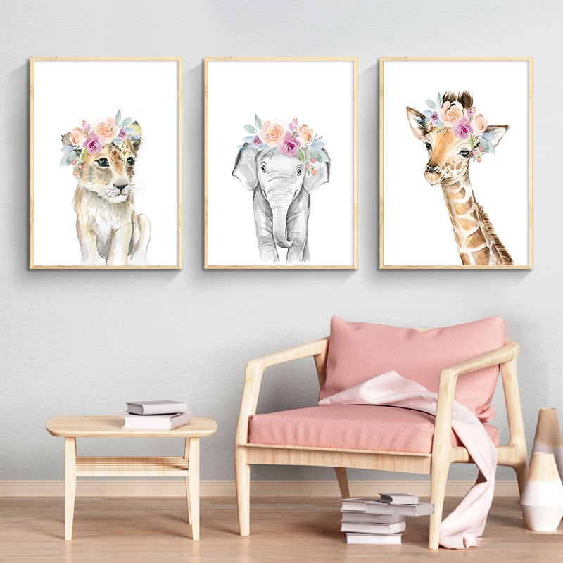 Flor animalcanvasposterlionzebraxelephant jirafa nurserywall art print paintingwallpicturekids babyroom decoration