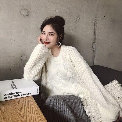 Suéter grueso de borla de moda para mujer, suéteres sueltos coreanos de invierno, jerséis verdes del ejército, Jersey de punto