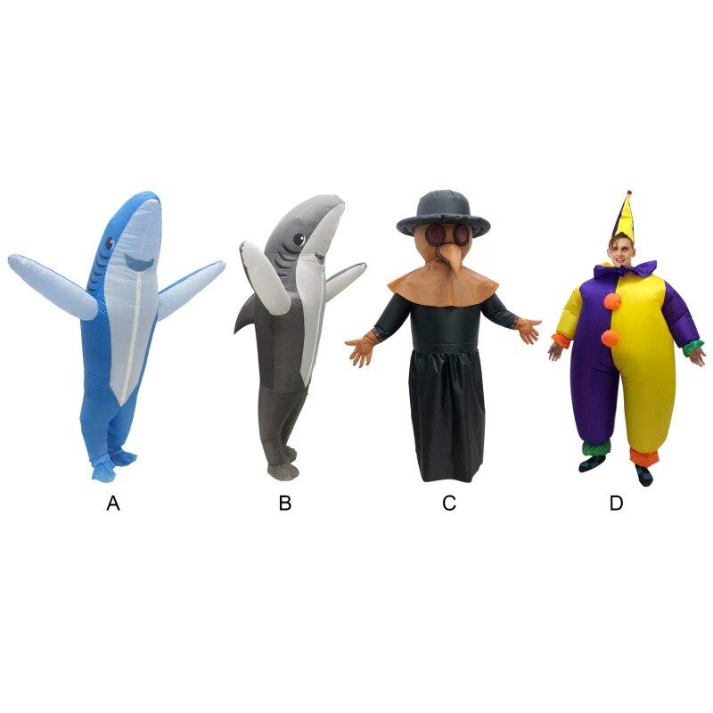 Забавный надувной костюм клоуна акулы, карнавальный костюм, праздничный костюм, вечерние костюмы, нарядное платье, реквизит на Хэллоуин, но...