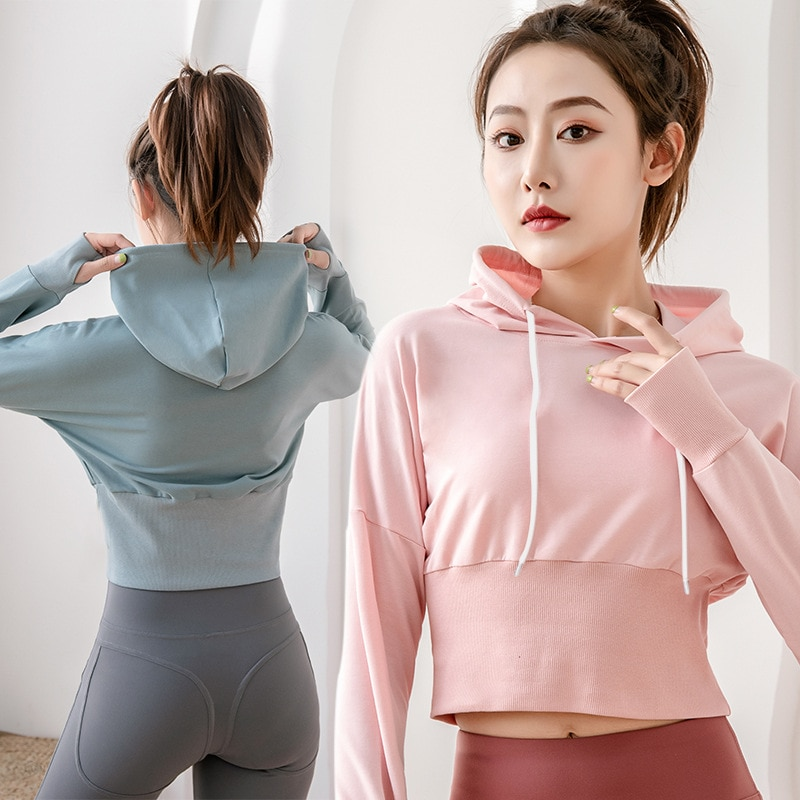 New Yoga Jacket Windproof Hooded Women's Yoga Shirts Long Sleeve Yoga Top Sportswear Quick Dry Tracksuit Women Running Jacket