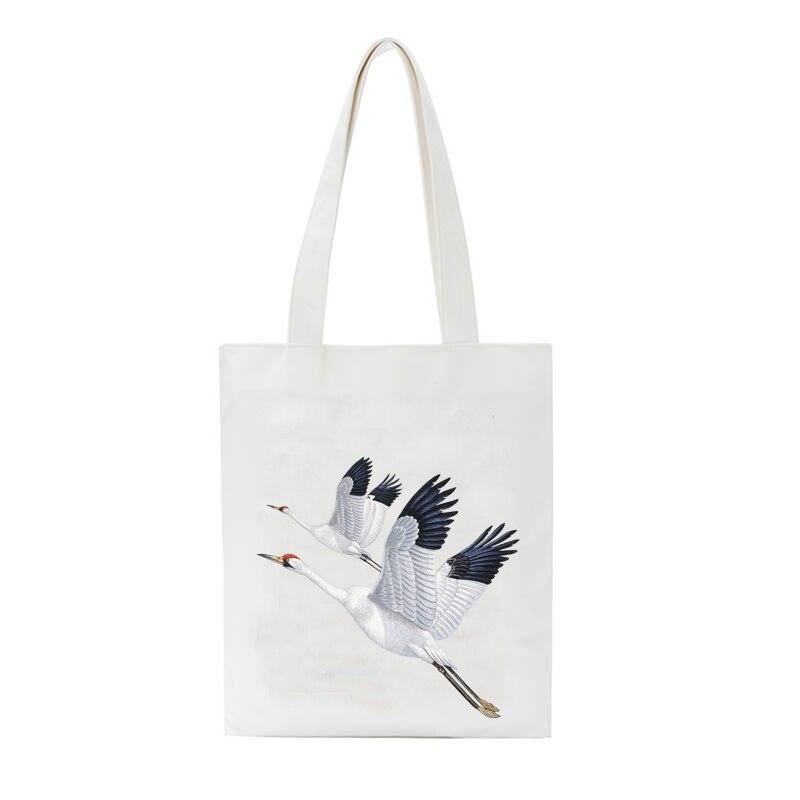 Women Canvas Shopping Bag Flower Fruits Bird Print Female Schoolgirl Shoulder Bag Eco Handbag Tote Reusable Grocery Shopper Bag