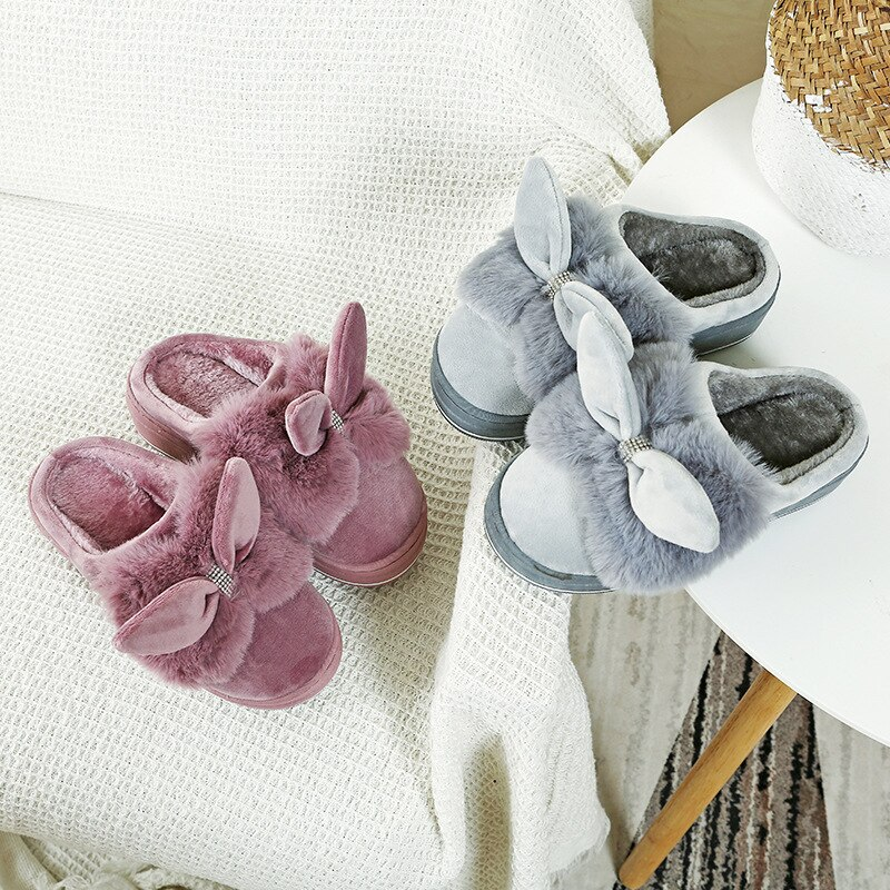 new fashion winter women men slippers bottom soft home shoe cotton thick slippers indoor slip on comfortable shoe slippers 2021 Winter Cotton Slippers Fur Home Warm Thick Bottom Rabbit Indoor Cotton Shoes Slippers Women Slippers Fluffy Shoes TX7