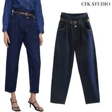 ZA femmes Jean 2019 nouvelle mode taille haute ceinture Streetwear Denim grande taille Femme Haren pantalon Jean ample Femme bleu Stretch Jean