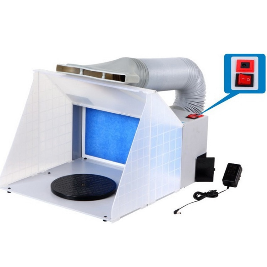 25W HS-E420DCK Portable Airbrush Spray Booth Set Foldable Paint Spray Extractor Exhaust Filter For Model Hobby Crafts 100-240V