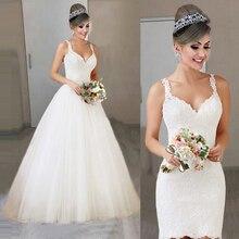 새로운 2 1 신부 가운 레이스 짧은 긴 분리형 웨딩 드레스 레이스 Tulle Vestido 드 Noiva 민소매 공 가운 2021