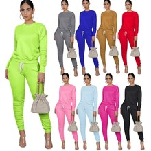 Spring Women Clothing 2021 Sweatshirt Long Sleeve Two Piece Pant Set Stacked Tracksuit Joggers Suits