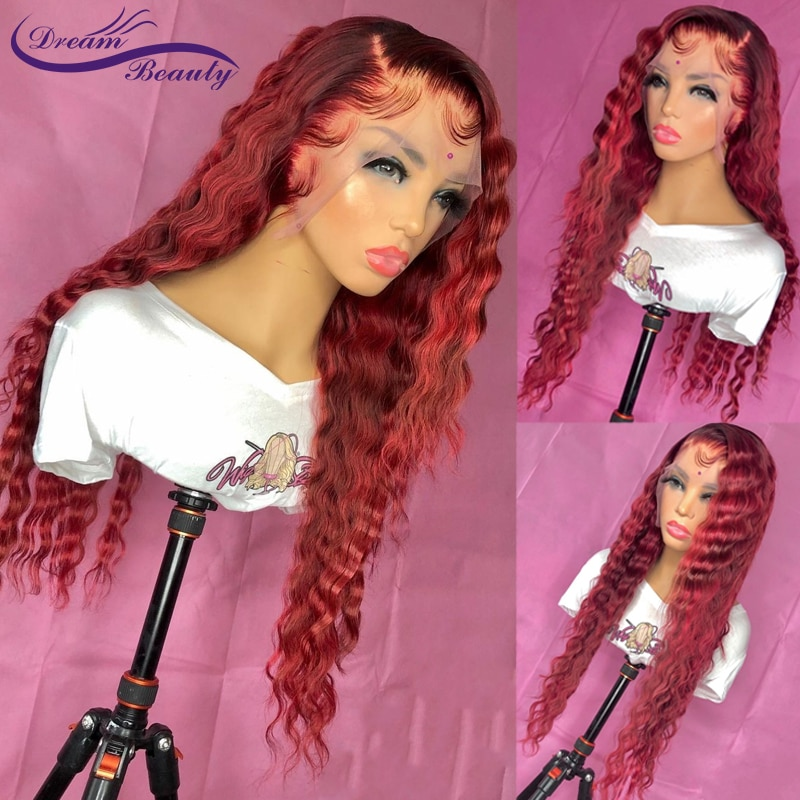 Burgundy Color Curly Human Hair Wig 13x4 Lace Frontal Wig Brazilian Transparent Lace 4x4 Lace Closur