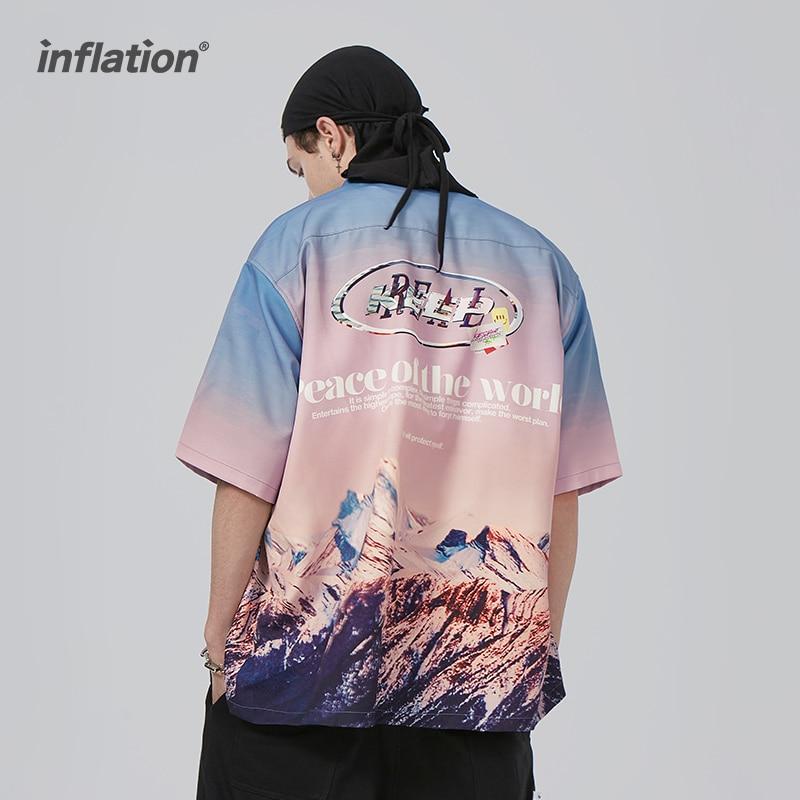 التضخم باردة قصيرة الأكمام قمصان الرجال الشارع الشهير 2021 الصيف الطباعة الرقمية قمصان الشاطئ المراهقين قميص هاواي صيفي 2284TS21