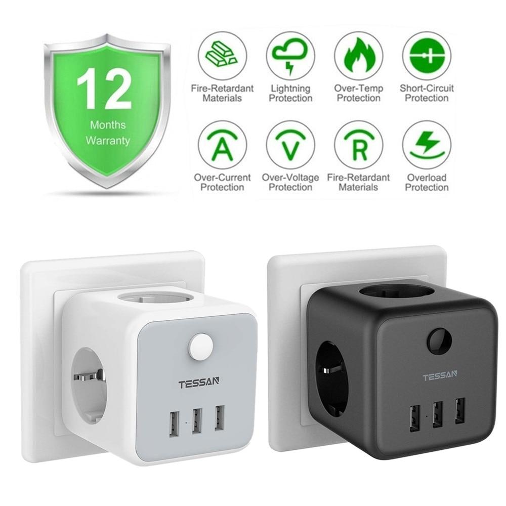 TESSAN-minialargador para hogar inteligente, 3 salidas y 3 puertos USB, interruptor de...