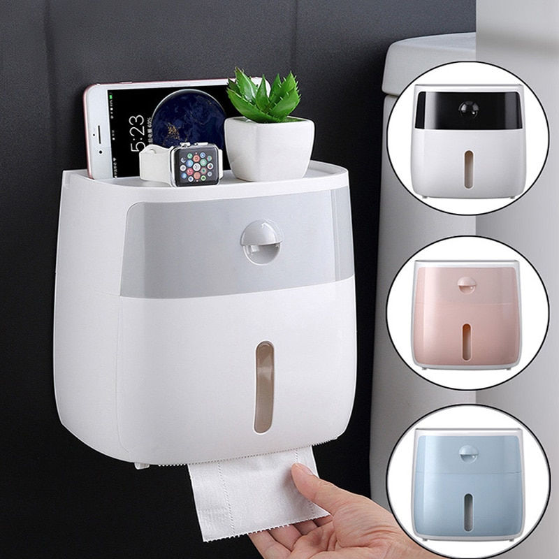 Waterproof Toilet Paper Holder Household Wall-Mounted Bathroom Storage Box With Shelf Plastic Tissue Box WC Roll Paper Holder jiangchaobo kitchen paper storage box paper box paste wall mounted paper towel holder toilet tissue box
