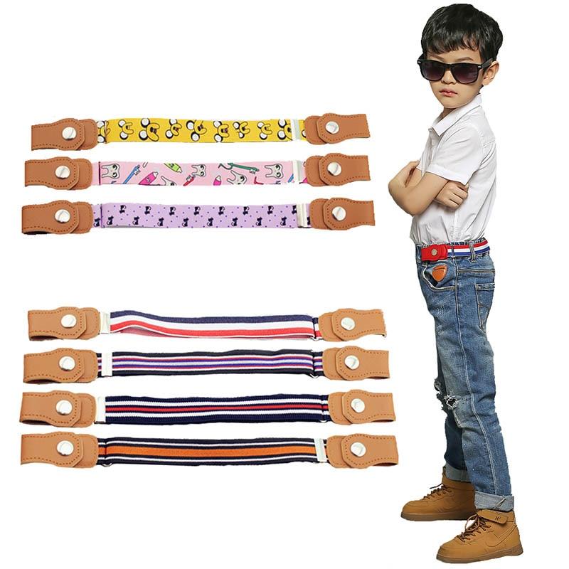 Child Kids Buckle-Free Elastic Belt No Buckle Stretch Canvas Belt For Boys Girls Adjustable Children