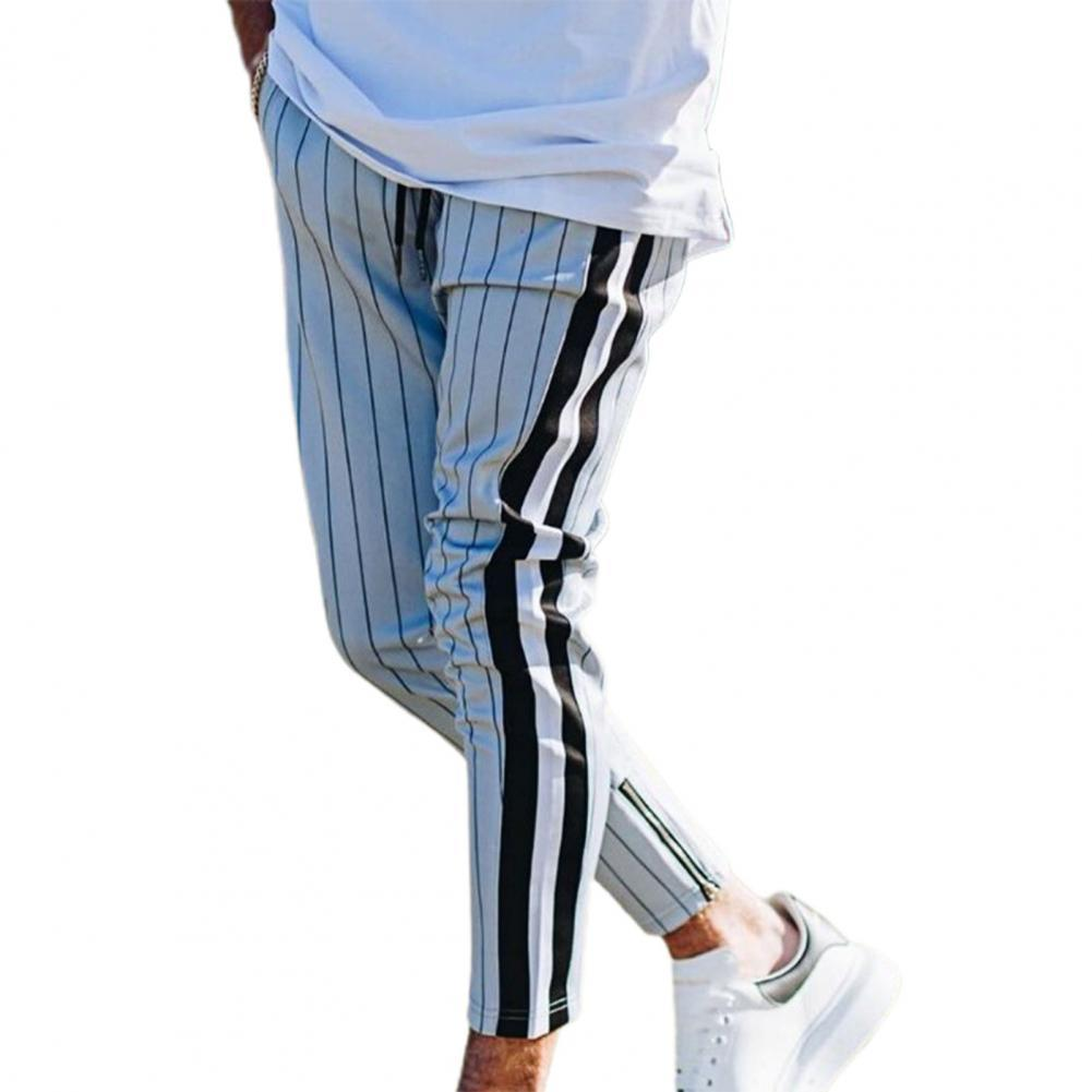 Мужские брюки в полоску, с боковым карманом, на резинке
