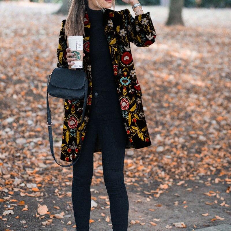 معطف المرأة شتاء الخريف زهرة طباعة نمط سترة طويلة الأكمام معطف Vintage المرأة عادية سليم معطف سترة الإناث أبلى