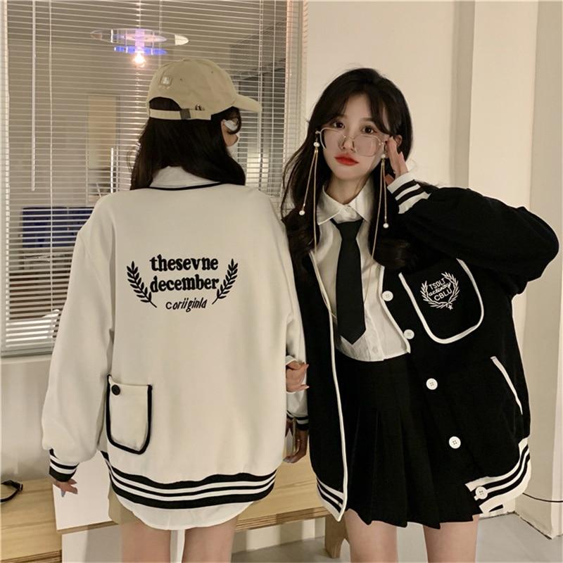 College Style Baseball Jacket New V-neck Loose Cardigan Long Sleeve Sweatshirt Korean Harajuku BF Ca