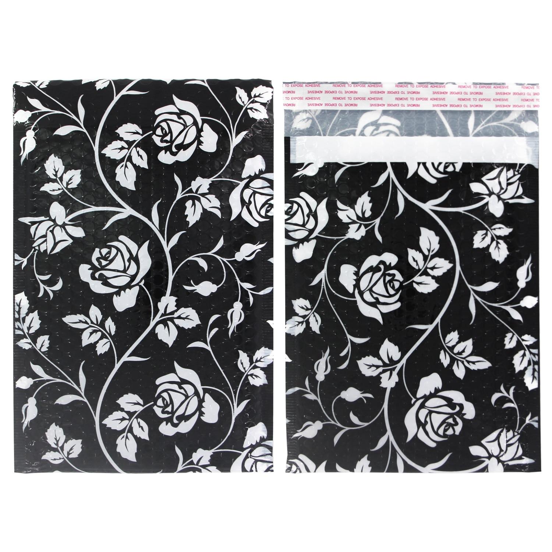 TONESPAC 190*260mm 10 Uds Rose Poly Bubble Mailer acolchado envío sobres bolsa auto sello impermeable embalaje negro