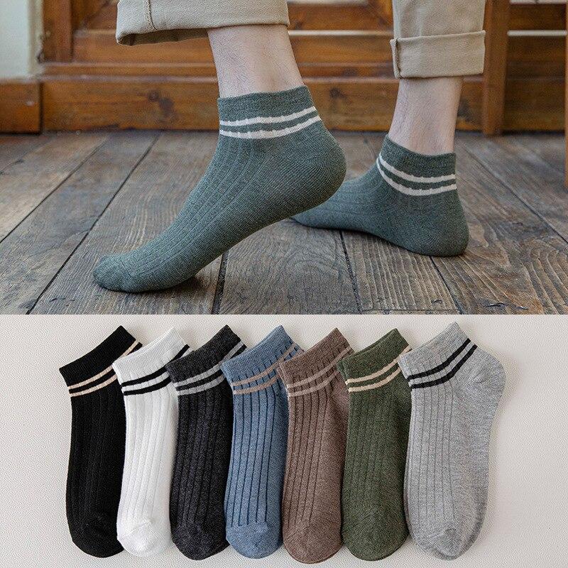 Мужские носки, двухместные, носки-лодочки, Мужские Повседневные Дышащие носки для колледжа, дышащие хлопковые носки с низким горлом, носки о...