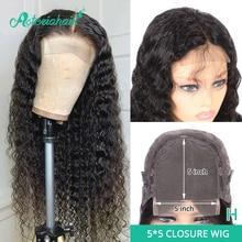 Asteria موجة عميقة 5x5 الدانتيل إغلاق الباروكات للنساء السود البرازيلي 6x6 خصلات الشعر المستعار الإنسان 130 150% كثافة عالية نسبة شعر ريمي الباروكات