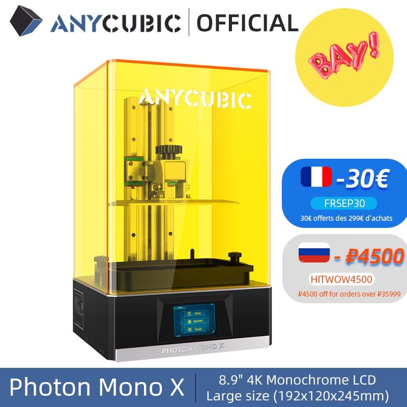 ANYCUBIC Photon Mono X 3D Printer 8.9 inch 4K Monochrome LCD UV Resin Printers 3D Printing High Speed APP Control SLA 3D Printer