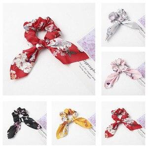 Fashion Silk Satin Bow Scrunchie Elastic Hair Ropes Ring Ponytail Holder Print Ponytail Hair Rope