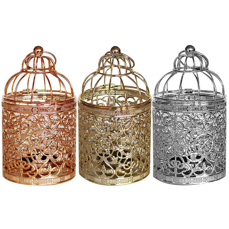 Iron Vintage Hollow Birdcage Candlestick Tealight Holder Hanging Lantern