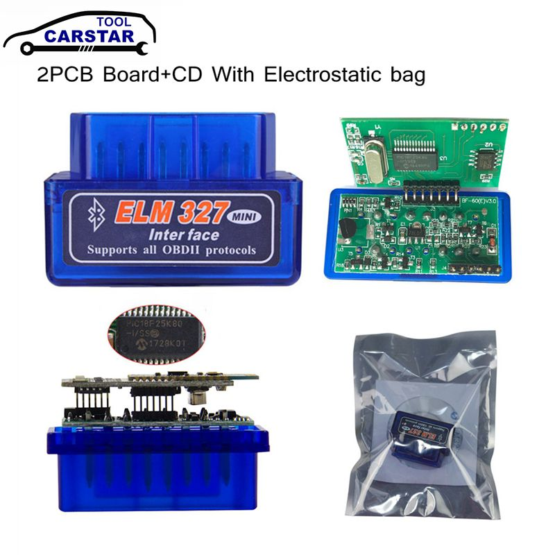 ELM327 Bluetooth V1.5 PIC18F25K80 ELM327 OBD2 Scanner ELM 327 Bluetooth Android/PC ELM 327 OBD2 Bluetooth Adapter ELM327 V1.5