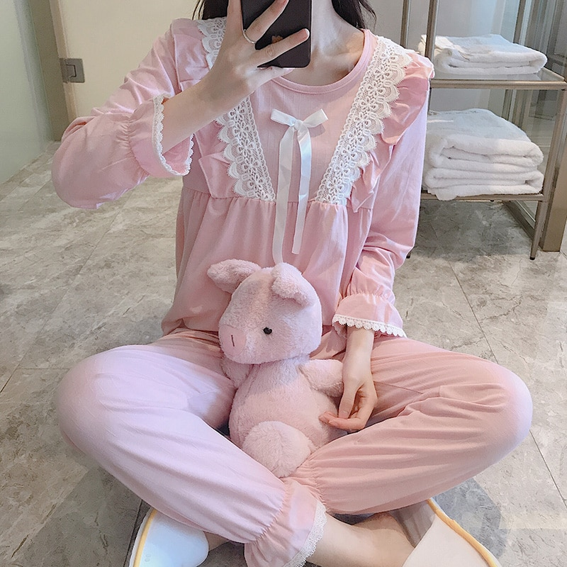 Pajamas Women's Spring and Autumn Lace Bow Princess Style Long Sleeve Cotton Thin Two-Piece Suit Cut