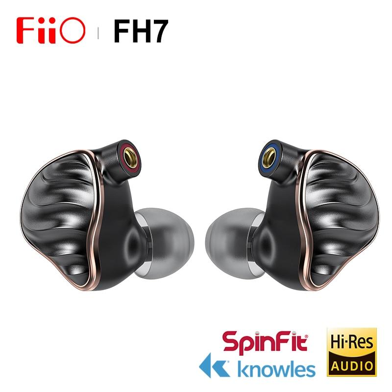 FIIO-سماعة أذن داخلية FH7 HIFI ، 5 برامج تشغيل هجينة 4 Knowles BA 13.6 مللي متر ، IEM ديناميكي مع كابل MMCX قابل للفصل