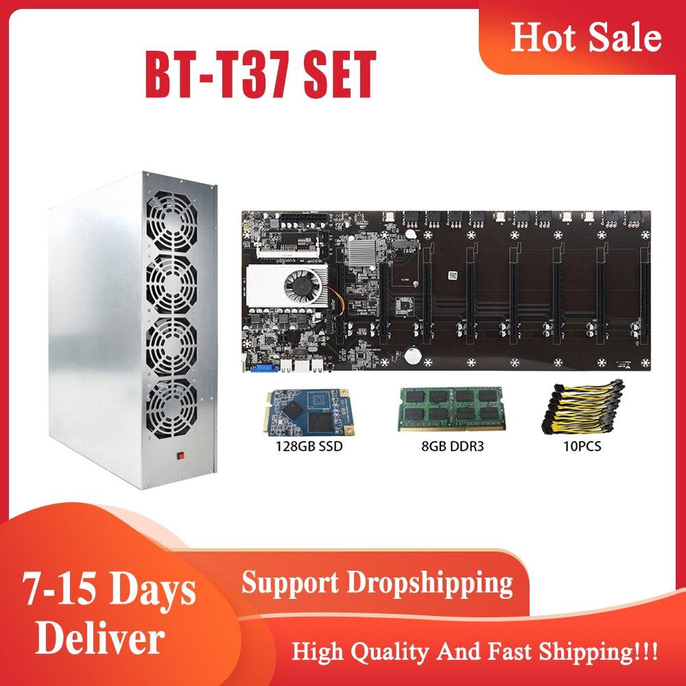 1 Set BTC T37 التعدين حالة اللوحة الأم مجموعة بيتكوين التشفير عامل منجم الشاسيه 8 GPU بيتكوين التشفير Ethereum BTC مع 4 المشجعين